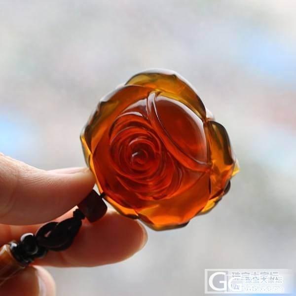 【Dudu】棕红珀玫瑰花 (中号,微信号:dudujade)_Dudu翡翠