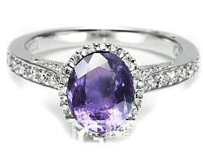 宝石每日赏之一 天然无烧紫色蓝宝石 及首饰成品效果图_蓝宝石