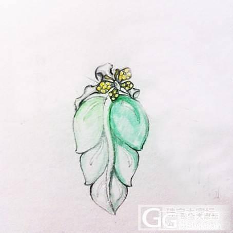 用心设计镶嵌好的高冰种飘绿木那叶子吊..._镶嵌珠宝