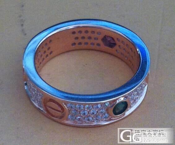 一个镶了三粒小碧玺的银戒指_戒指银