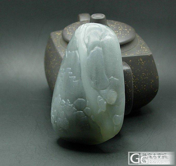 和田玉青花籽料海派精雕山水把件《飞流直下三千尺》_传统玉石