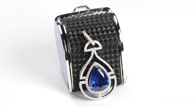 【忆宝】2.13ct 皇家蓝 蓝宝石吊坠~水滴形,中国风~_宝石