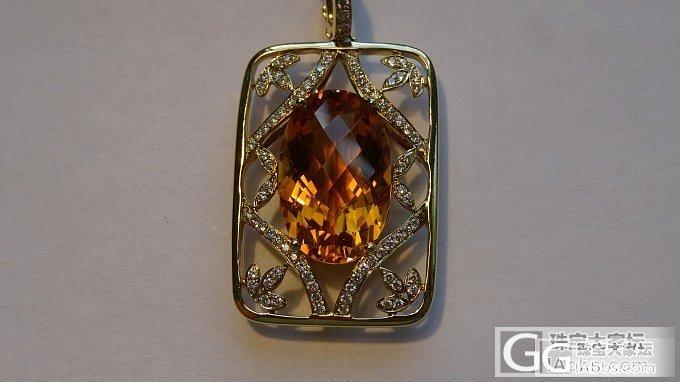 黄水晶镶嵌钻石的项链坠_黄水晶钻石吊坠