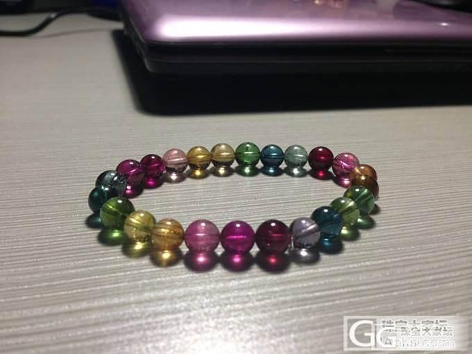 天然近玻璃体彩虹色碧玺手链 自珍 惜售_宝石