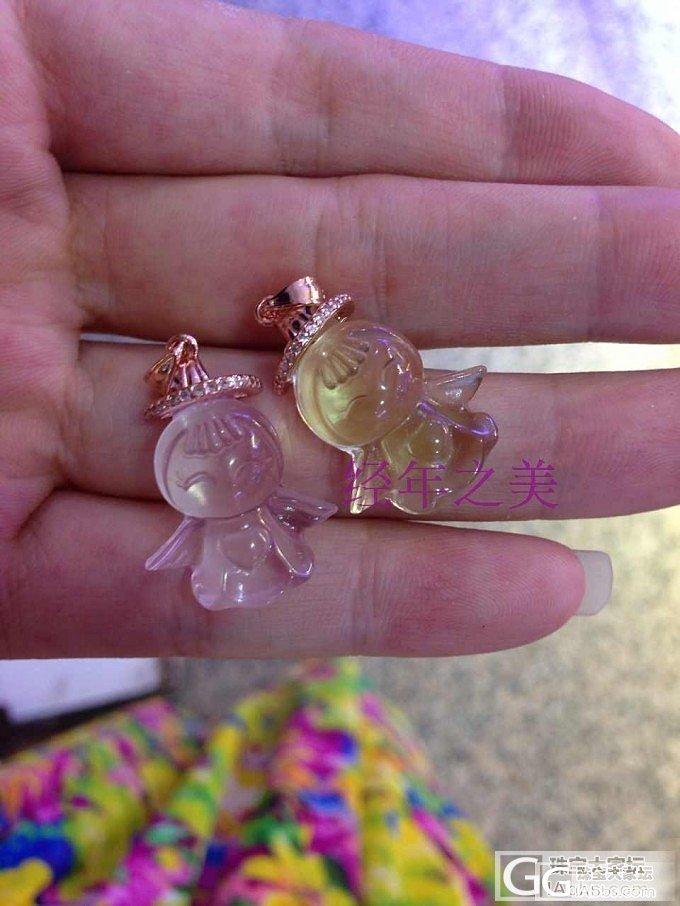 925纯银黄水晶和粉水晶小天使  想..._珠宝