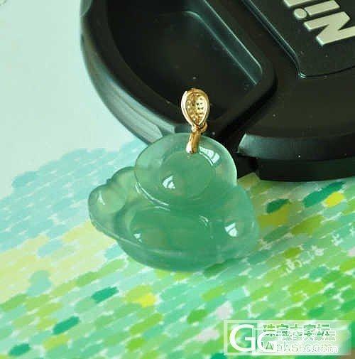 冰种蓝水清新干净佛公吊坠、挂件(镶嵌18K金钻石) 天然A货翡翠_翡翠