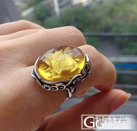 10月21号截团.蜜蜡阴雕玫瑰花戒指..._珠宝