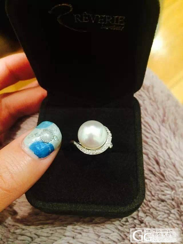 今天买到了超爱超爱的南洋珠戒指和耳环,激动地上图!_珍珠