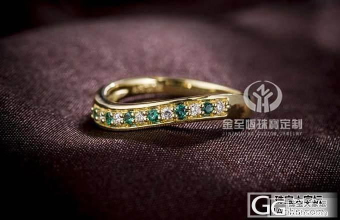金挚恒珠宝:18K绿宝钻石排戒夏日清凉款式 (现货)_金挚恒珠宝镶嵌