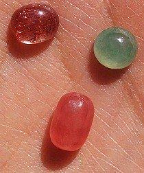 各种蛋面裸石 红发晶、红纹、翡翠、碧玺等,萤石手串_宝石