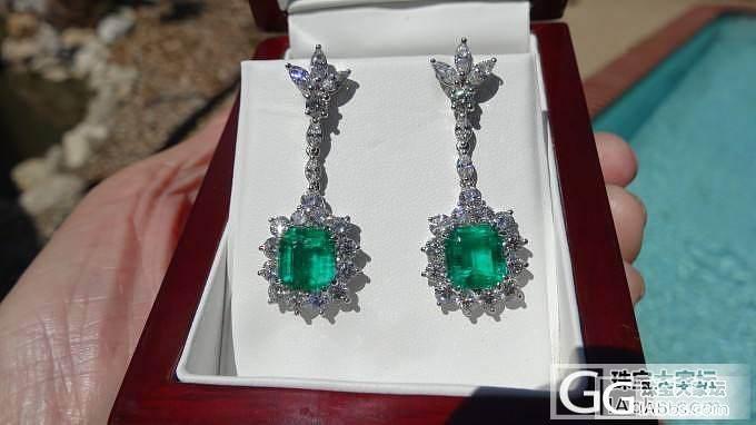 镶钻石祖母绿耳坠,午后阳光下拍的_祖母绿耳坠刻面宝石