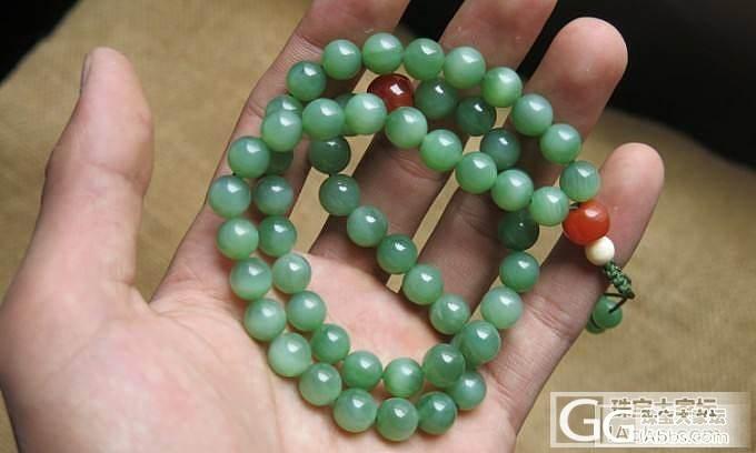 俄碧平安牌,54颗嫩绿猫眼念珠_传统玉石