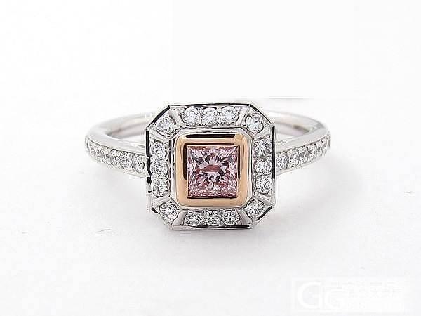 公主方 0.33ct 浓彩紫粉 fancy intense purplish pink_乐钻珠宝彩钻