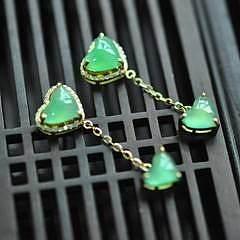 【甜心】老坑冰种阳绿爱心心形耳坠 18K黄金钻石镶嵌 翡翠A货有证_小凤眼菩提