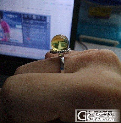 给刚收到的墨西哥蓝珀戒指还个图~~_珠宝