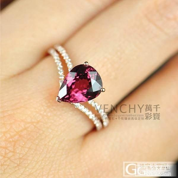 【镶嵌定制出货欣赏】18K白金水滴红碧玺皇冠款钻石戒指_宝石