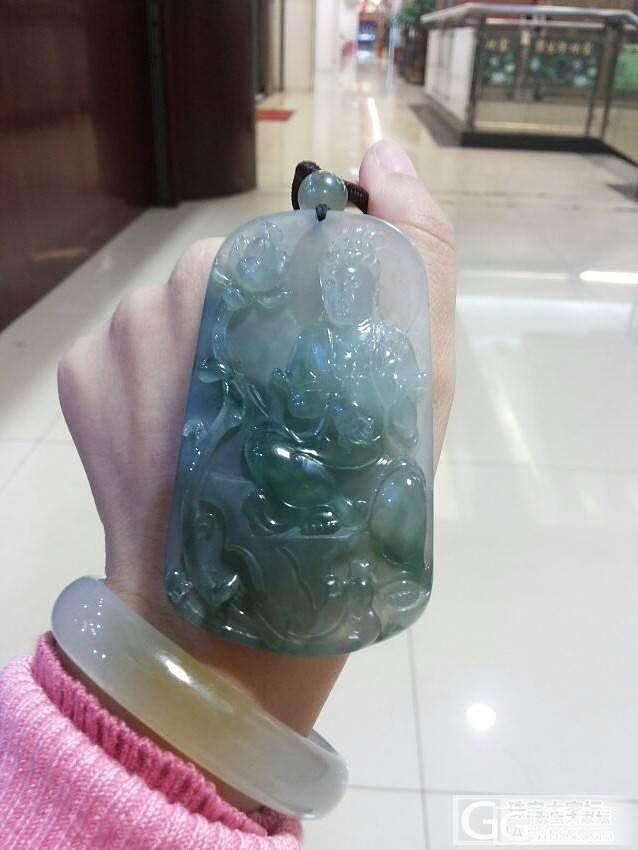 珍藏老坑冰种蓝水飘花自在大观音挂件翡翠A货(超大件品)_翡翠
