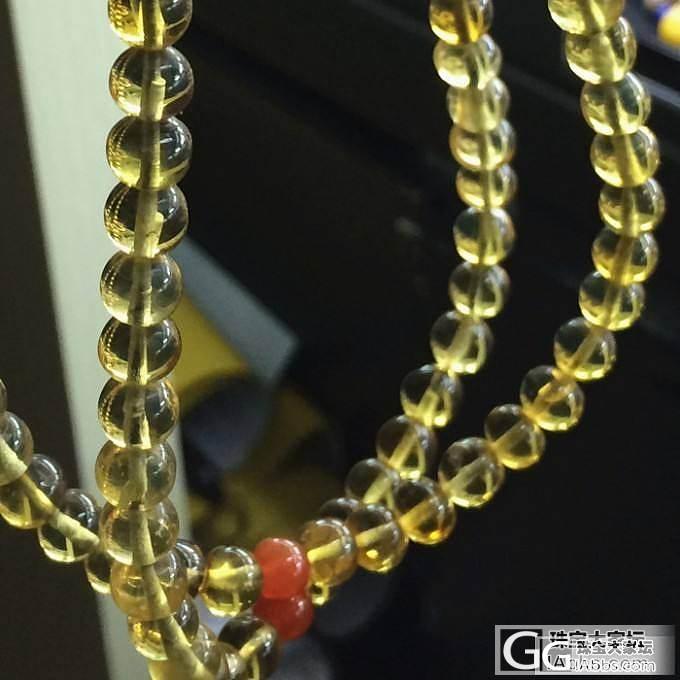 缅甸琥珀金蓝珀108佛珠手链6.5mm 17.38g_文玩