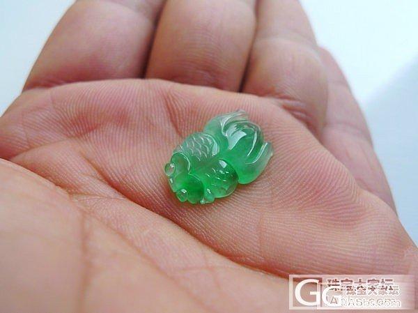 冰种满绿A货翡翠超萌超Q超可爱金鱼年年有余镶嵌件_翡翠