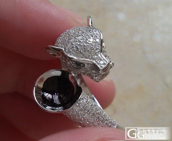 925银镀白金卡地亚款豹子头戒指托蓝珀 珍珠专用DIY 打酱油必备 活口圈精工货!_银