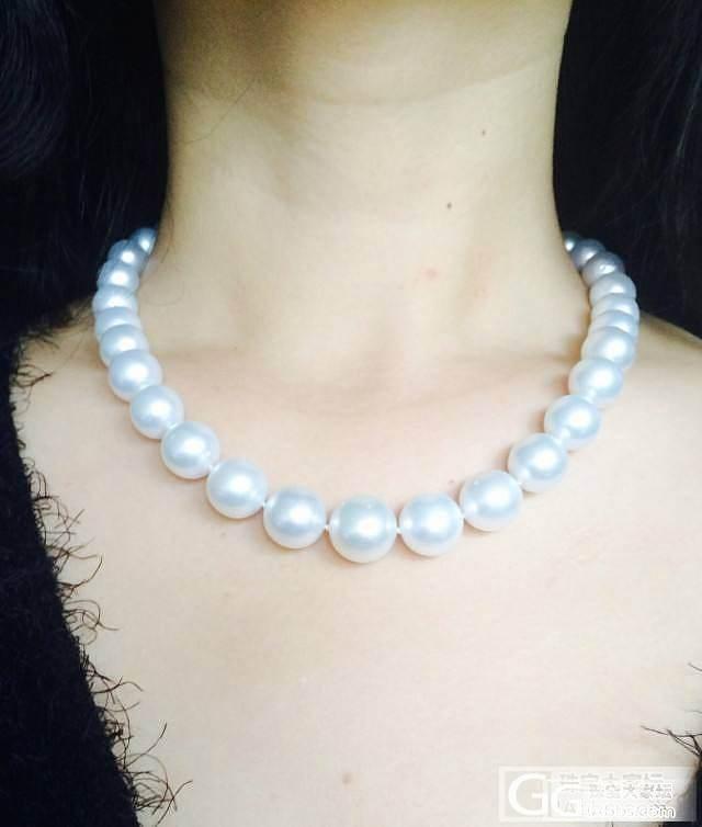 继续发我自己刚买的一串大大滴南洋珠项链,请大家点评!_有机宝石