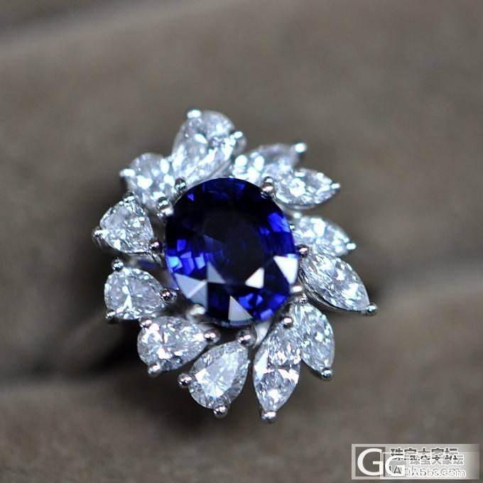 【傲蕾伊兰珠宝】5.27克拉皇家蓝豪镶戒指_傲蕾伊兰珠宝