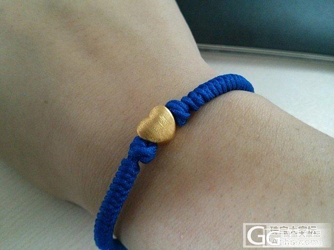 木有青金,只好用了蓝色绳冒充了,拉丝心穿起来!_编绳金福利社