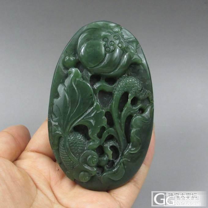 【和田玉养心阁】和田玉碧玉 菠菜绿有黑点 连年有余 鱼挂件_传统玉石