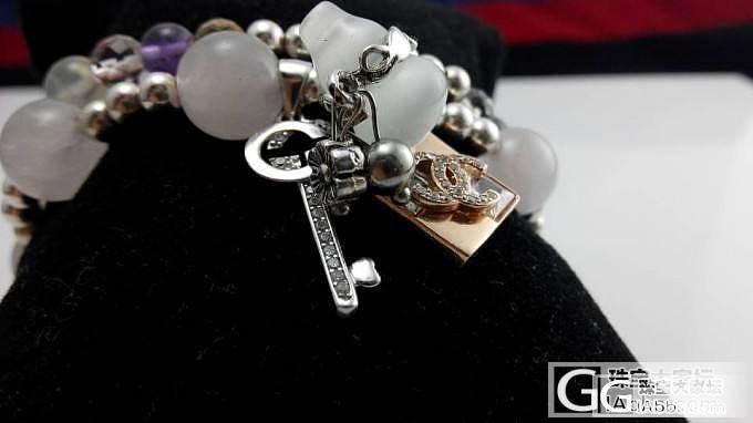 自己手编的水晶手串 粉水晶葡萄石两圈_珠宝