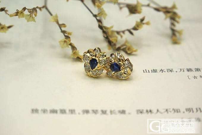 【山水彩宝】精美复古蓝宝石耳钉_宝石