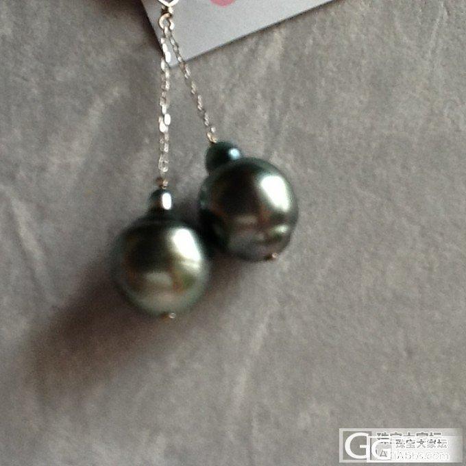 10K金大溪地黑珍珠18K美国天然绿松石戒指,耳环_金