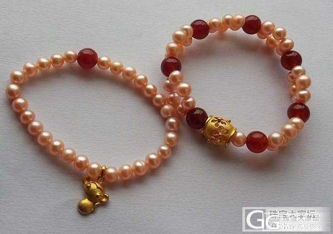自己串的珍珠+金坠子手链_吊坠淡水珍珠串珠金