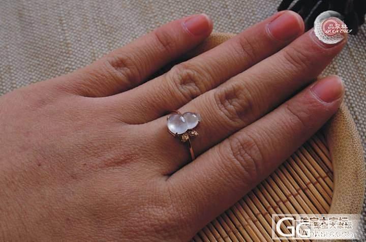 【品翠林翡翠】冰种葫芦戒指镶18K玫瑰金  1880_翡翠