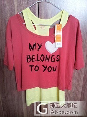 低转全新ONLY红色桃心宽松T恤+MB黄色修身工字背心两件套_品质生活