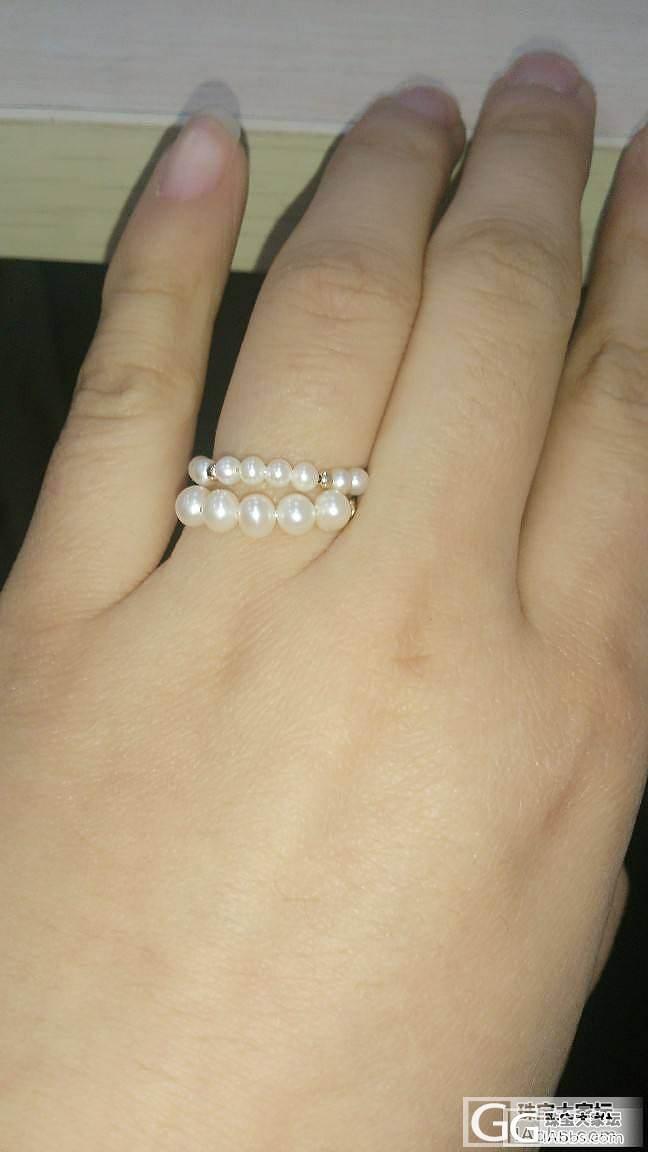 秀个很白菜但是感觉很好看滴小珍珠戒指:)_珍珠