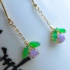 【蜜果】天然缅甸翡翠A货,老坑艳丽阳绿紫罗兰耳坠,18K钻石镶嵌_小凤眼菩提