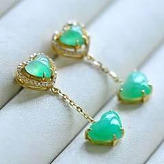 【甜蜜蜜】天然缅甸翡翠A货甜色满绿爱心耳坠,18K黄金钻石有证_小凤眼菩提