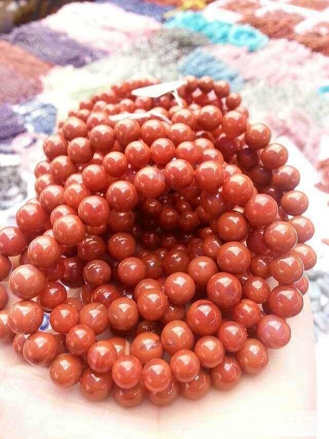【新货】极品纯色柿子红南红5mm6mm10mm12mm佛珠108_玛瑙