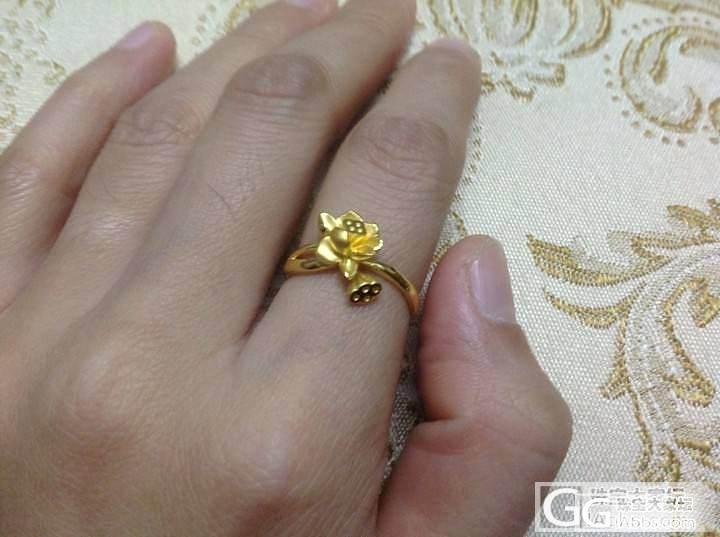 刚去周大福买的荷花戒和耳钉_耳钉戒指金
