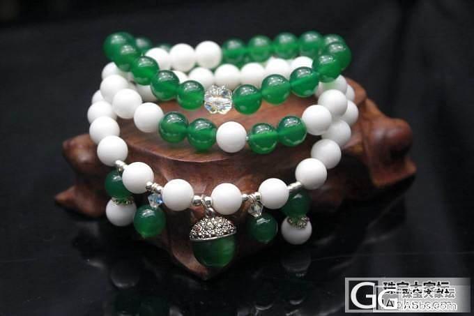 白砗磲与绿玉髓,小清新的搭配。。_珠宝