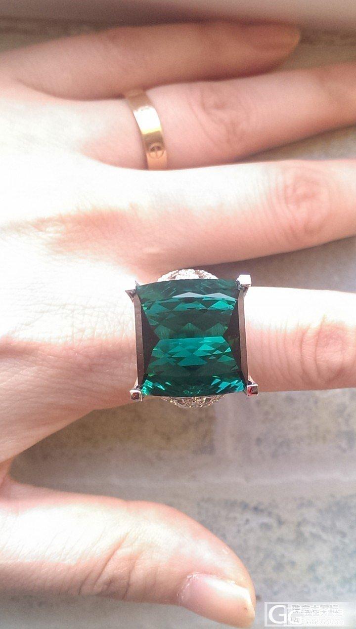 为这货,破产的节奏,23.77ct碧玺戒指,一汪蓝绿色湖水_碧玺刻面宝石