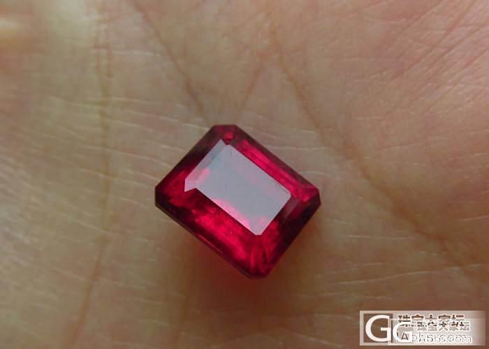 【彩石记】长方形大红色高净度碧玺戒面裸石_宝石