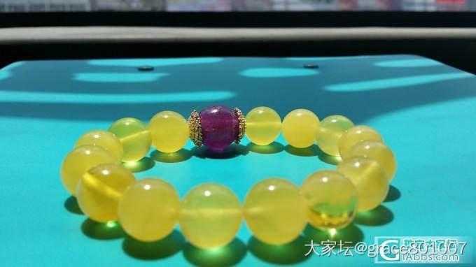 当黄亮亮的金绞蜜遇到紫的心醉的老琉璃......_蜜蜡