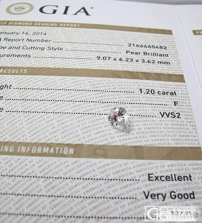 [客户宝贝]GIA 1.20 F VVS2 EX VG PEAR梨形(水滴形)更新成品_乐钻珠宝彩钻