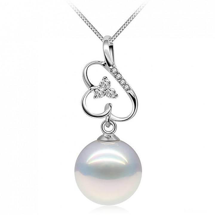 珍珠美人9.5-10mm正圆强光浅紫色淡水珍珠吊坠 稀有高雅紫光 2014新款 仅此1件!_珠宝