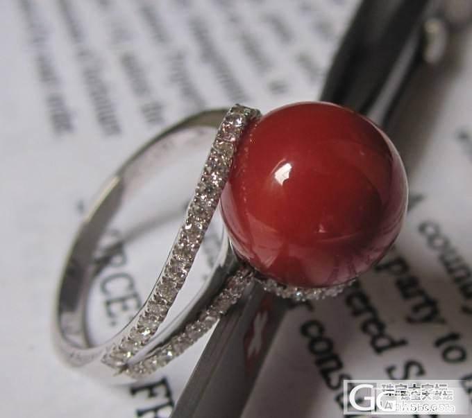 1.05阿卡珊瑚珠18k白金钻石戒指个人闲置_有机宝石