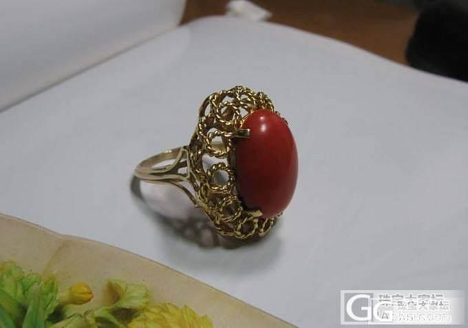 鸟巢 欧州古董14K金镶嵌红珊瑚 巨型戒指_珊瑚