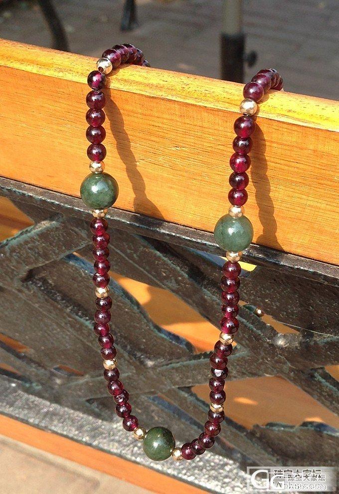 求秒:玫紫石榴石,油青翡翠,紫水配14K注金珠手链_宝石