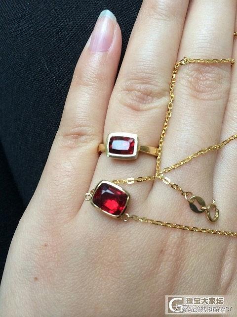 红尖晶戒指+锁骨链小套(图片已更新)_项链戒指尖晶石刻面宝石