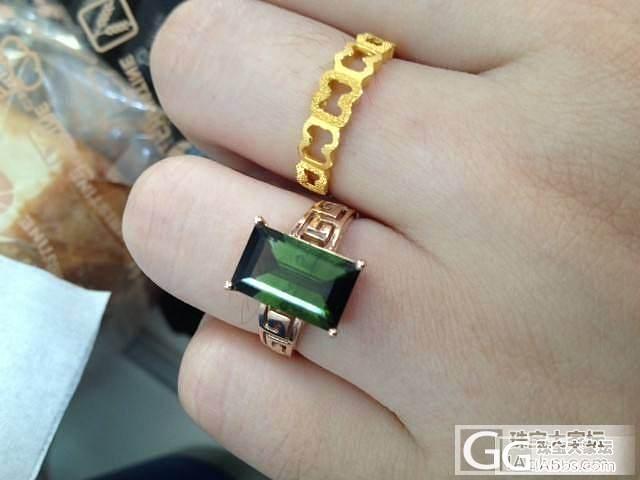 18K玫瑰金镶嵌玻璃体绿色碧玺戒指,11号圈口,低价出_宝石